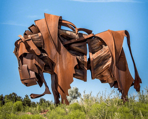 Effram by Artist Jamie Burnes Bison, large metal sculpture