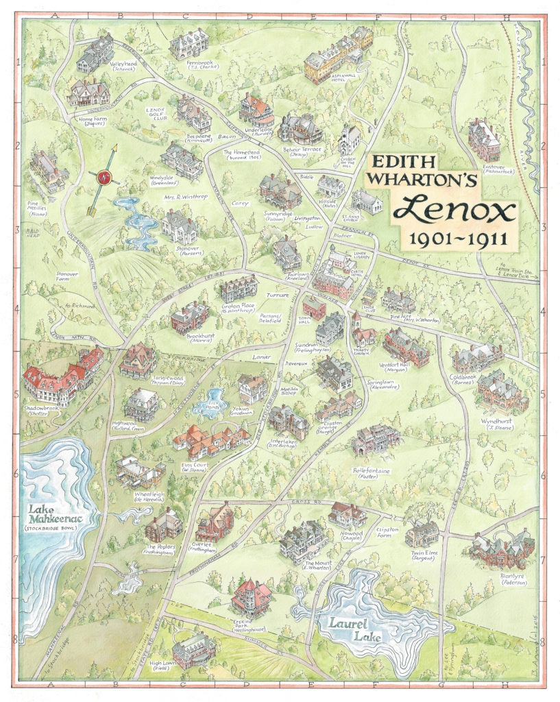 """Map of Edith Wharton's Lenox, 1901 - 1911, picturing the Berkshire """"Cottages"""""""