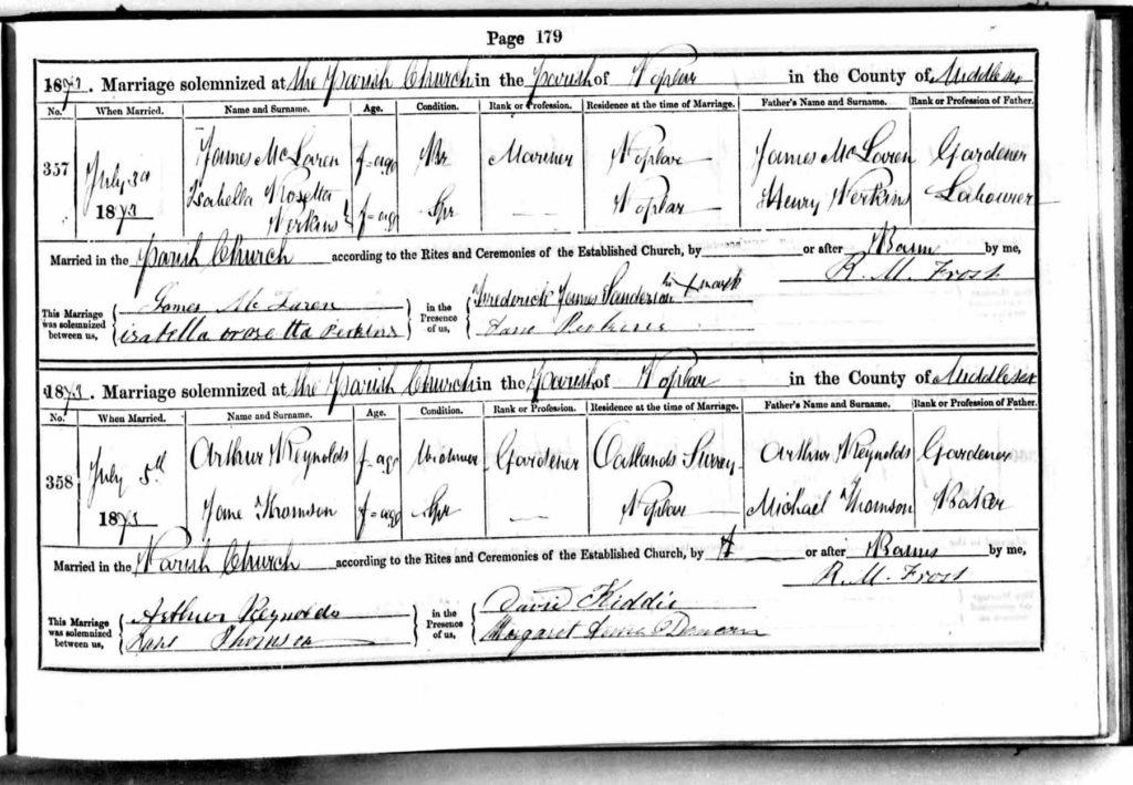 Arthur and Jane Reynolds Wedding Registry, 1873