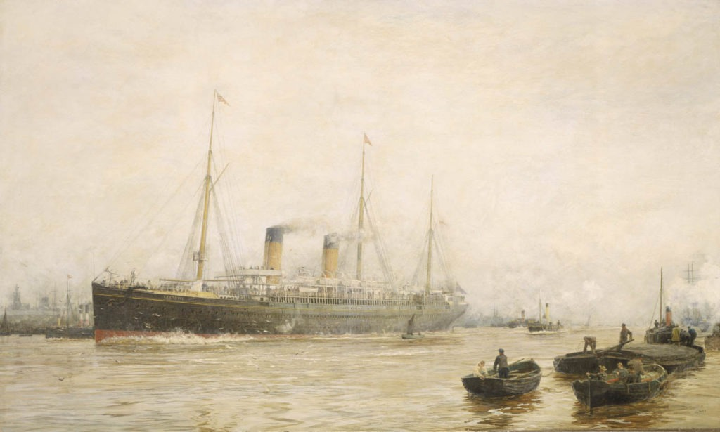 Wyllie painting of Teutonic, 1889, from National Maritime Museum, Greenwich