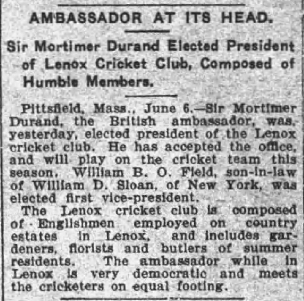 Cricket newspaper article
