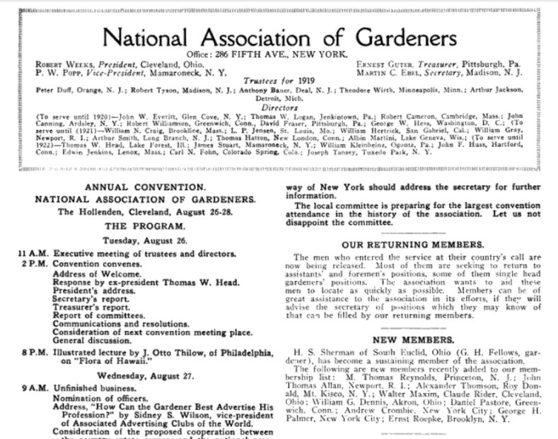 National Association of Gardeners article