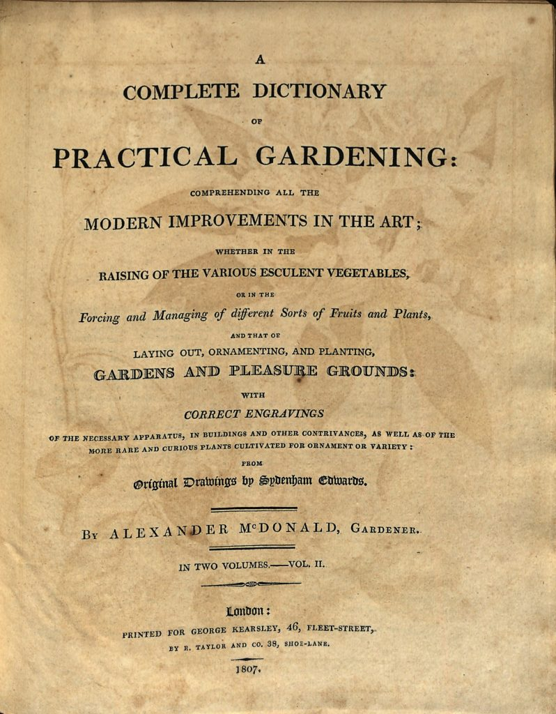 A Complete Dictionary of Practical Gardening (1807) by Alexander McDonald cover page