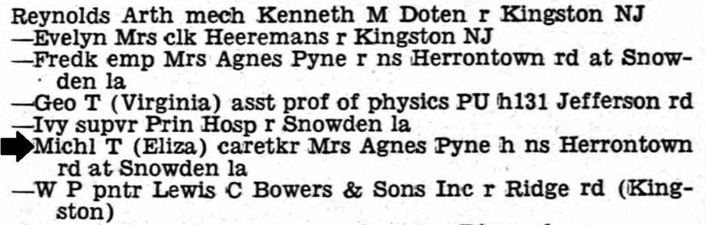 Princeton directory – Reynolds as Agnes caretaker