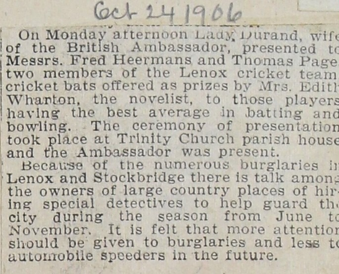 Cricket article from album – Edith and prizes