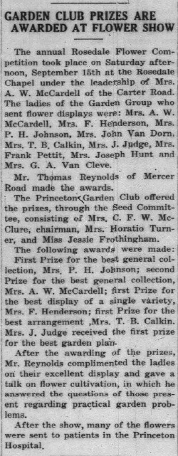 Princeton Herald flower show article 1928